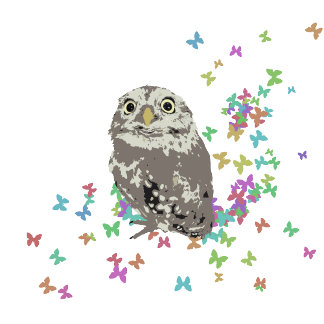 Silver Owl with Butterflies and Flowers