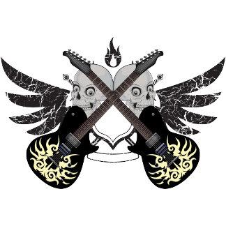 Crossed Guitars Skulls