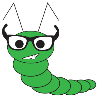 Cool hipster caterpillar with glasses