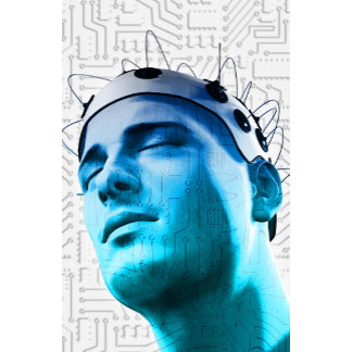 Illustration of a man wearing a cap of electrodes