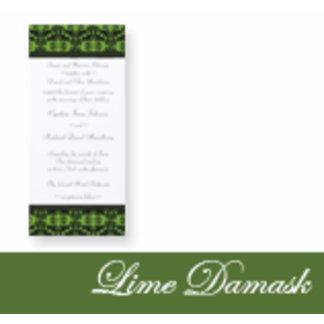 Lime Damask Wedding Invitations