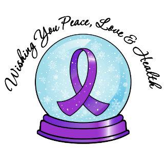 Pancreatic Cancer Ribbon Merry Christmas Snowglobe