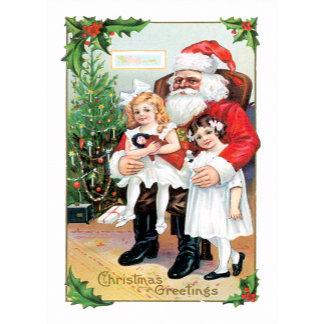Christmas Greetings ~ Santa & Sweet Girls