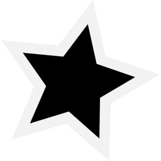 Black Star - Bold White Outline