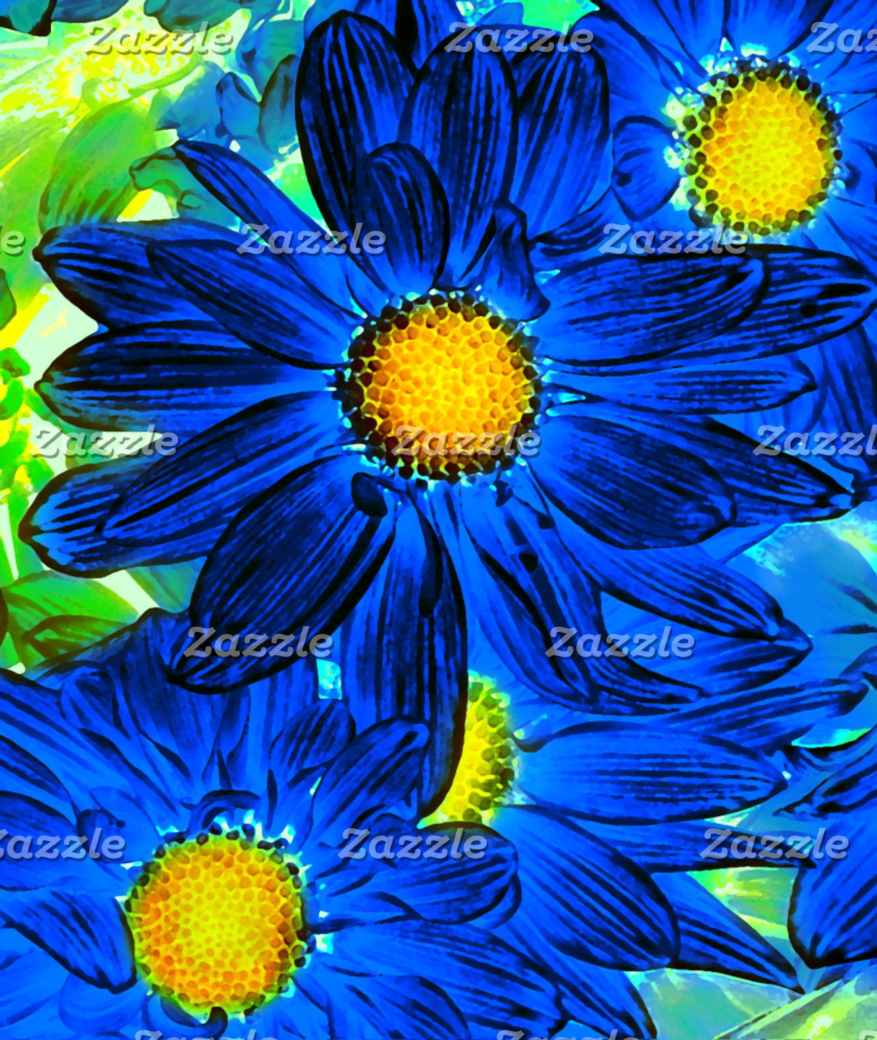 Blue Pop Art Daisies