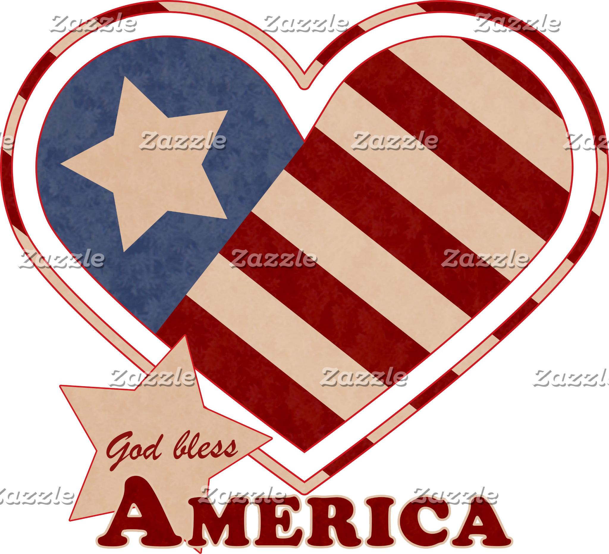 God Bless America Vintage Heart