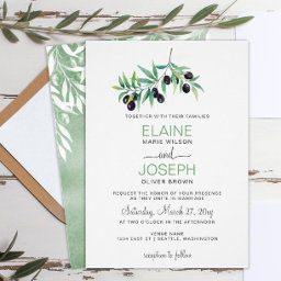 Olive Branch Botanical Wedding Invitations Suite