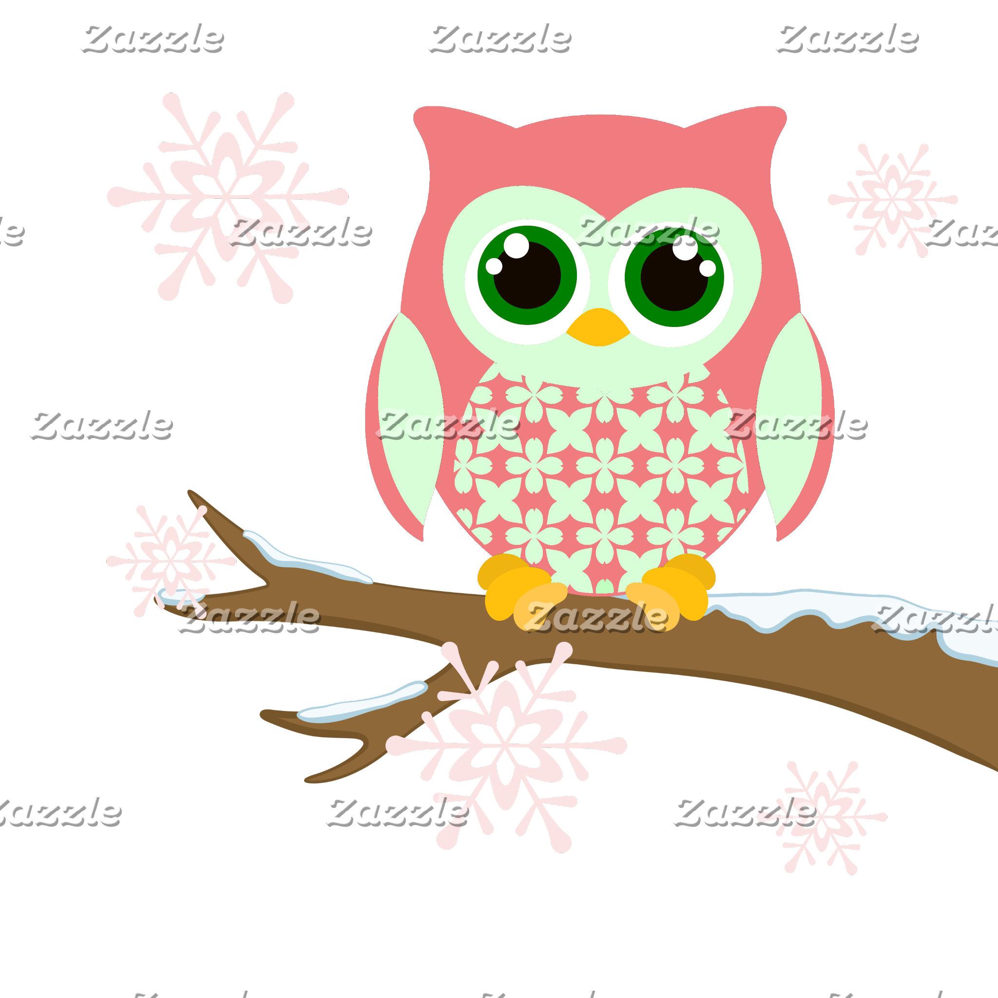 Pink winter owl