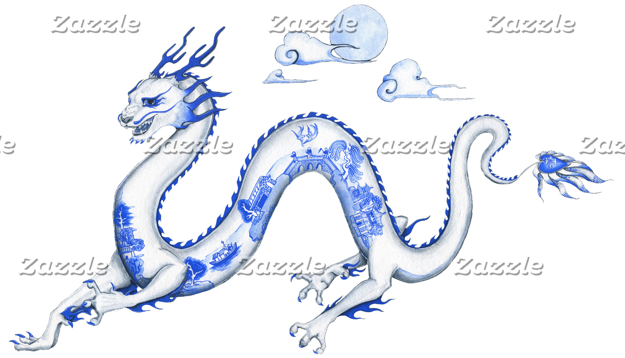 Blue and Red Willow Dragon