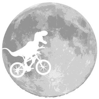 Dinosaur On A Bike In Sky With Full Moon