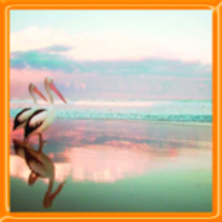 Pair of Pelicans, Sunset Design