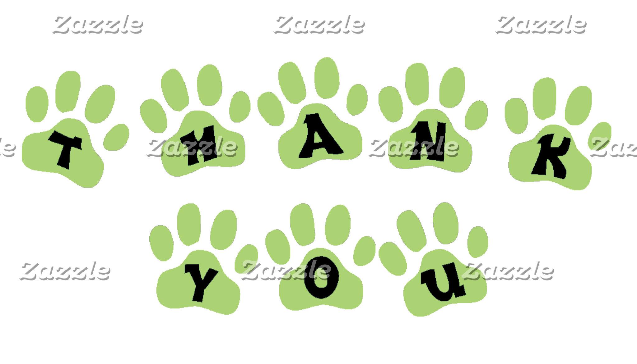 GREEN PAW PRINT THANK YOU