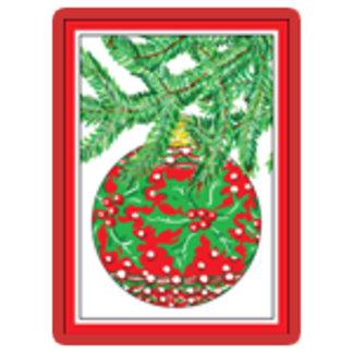 Holly Glass Ball Ornament on Christmas Tree