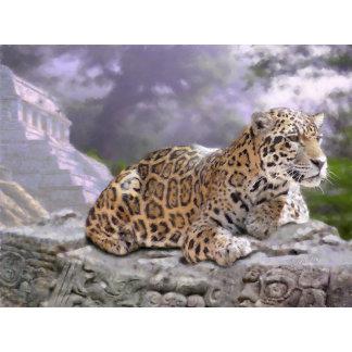 Jaguar and Mayan Temple