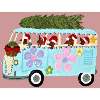 Dachshund Santa's In Their Merry Christmas Van