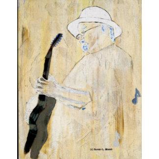 Blues Guitarist, inversion original painting music