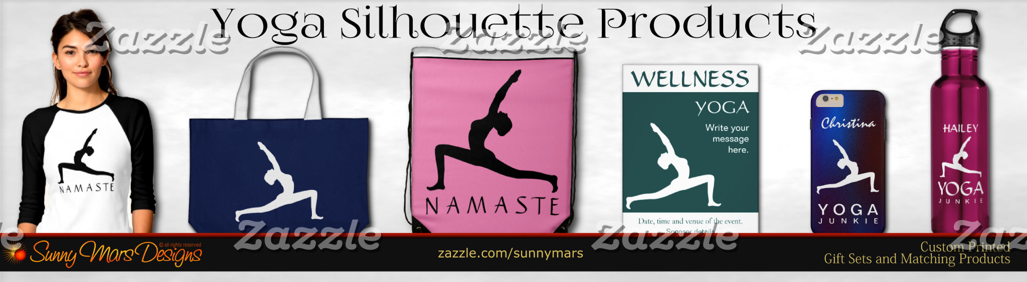 Yoga Woman Posing Profile Silhouette Product Set Collection