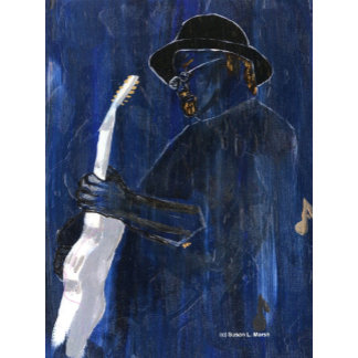 Blues musician blue themed acrylic painting guitar