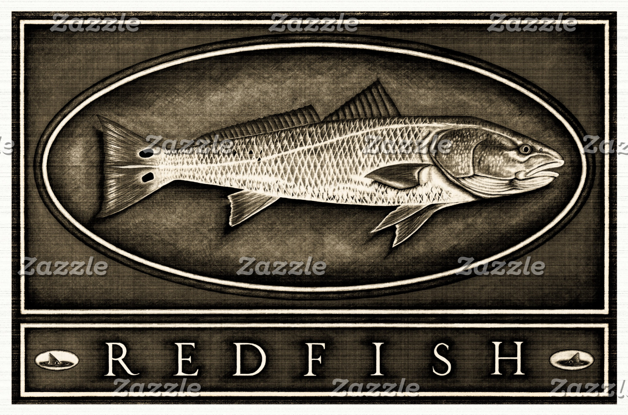 Redfish Vintage Black & White