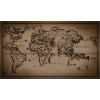 Close up of antique world map 7