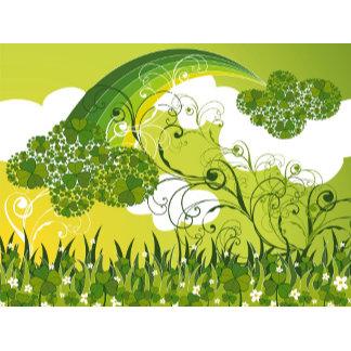 :: Green Rainbow Clover Swirls
