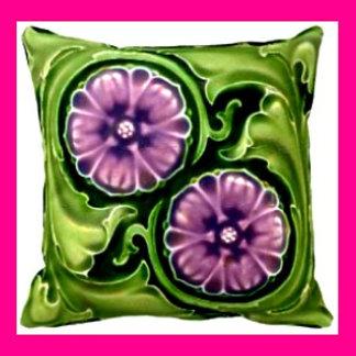 Pillows - Vintage TILES on Reversible Pillows