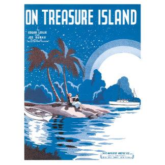 On Treasure Island - Vintage Song Sheet Music Art