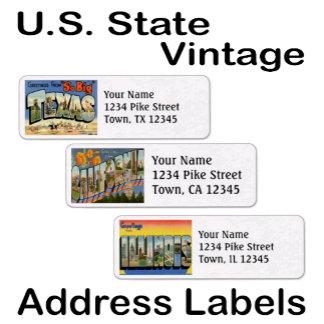 Address Labels ~ Vintage U.S. State Templates