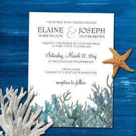 Blue Corals Beach Wedding Invites