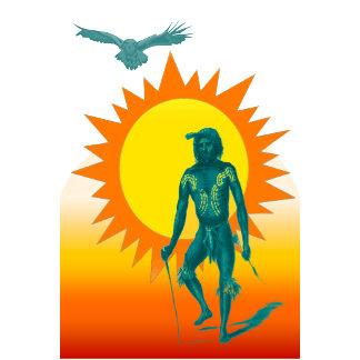 Native Aboriginal against a golden sun