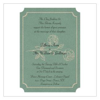 Green and Cream Vintage Rose Wedding