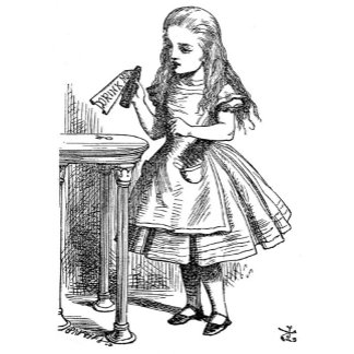 """Alice and the """"Drink Me"""" bottle"""