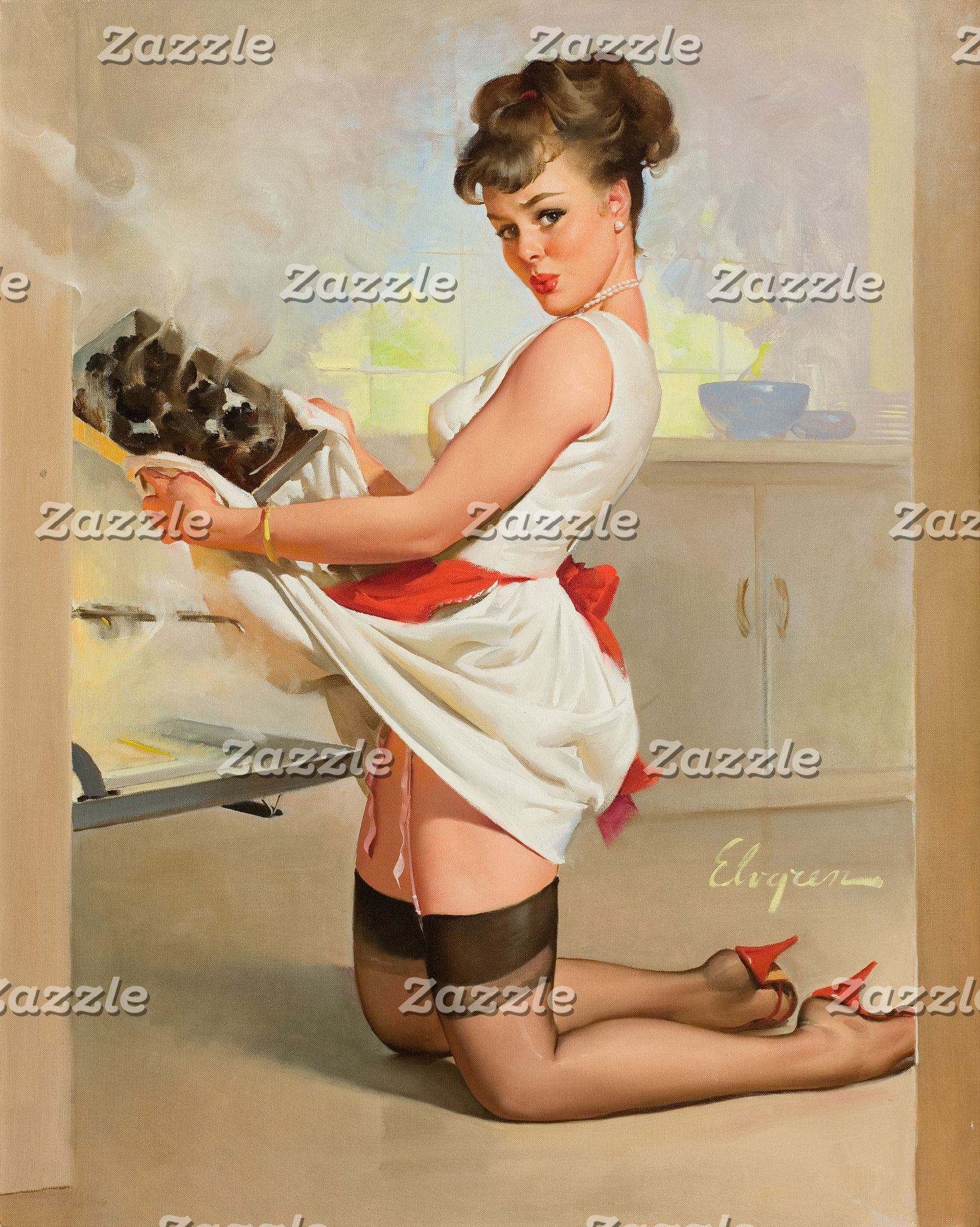 Baking Pinup Girl - Vintage Pin-up Art