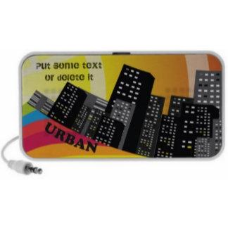 Black grey city buildings urban speakers