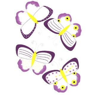 Butterflies Purple and Yellow Cartoon Art
