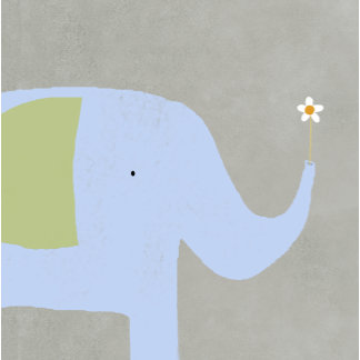 """Elephant with Flower Poster Print"""