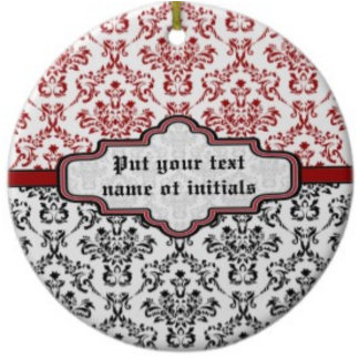 Elegant damask pattern with label