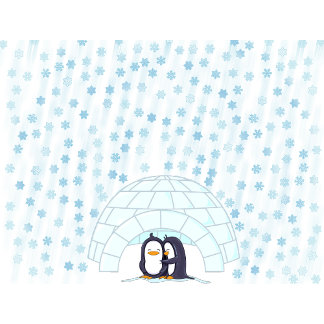 Penguins in Igloo Snowing