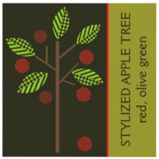 Stylized apple tree red, olive green