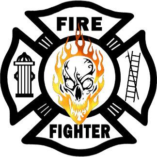 Flaming Firefighter Skull