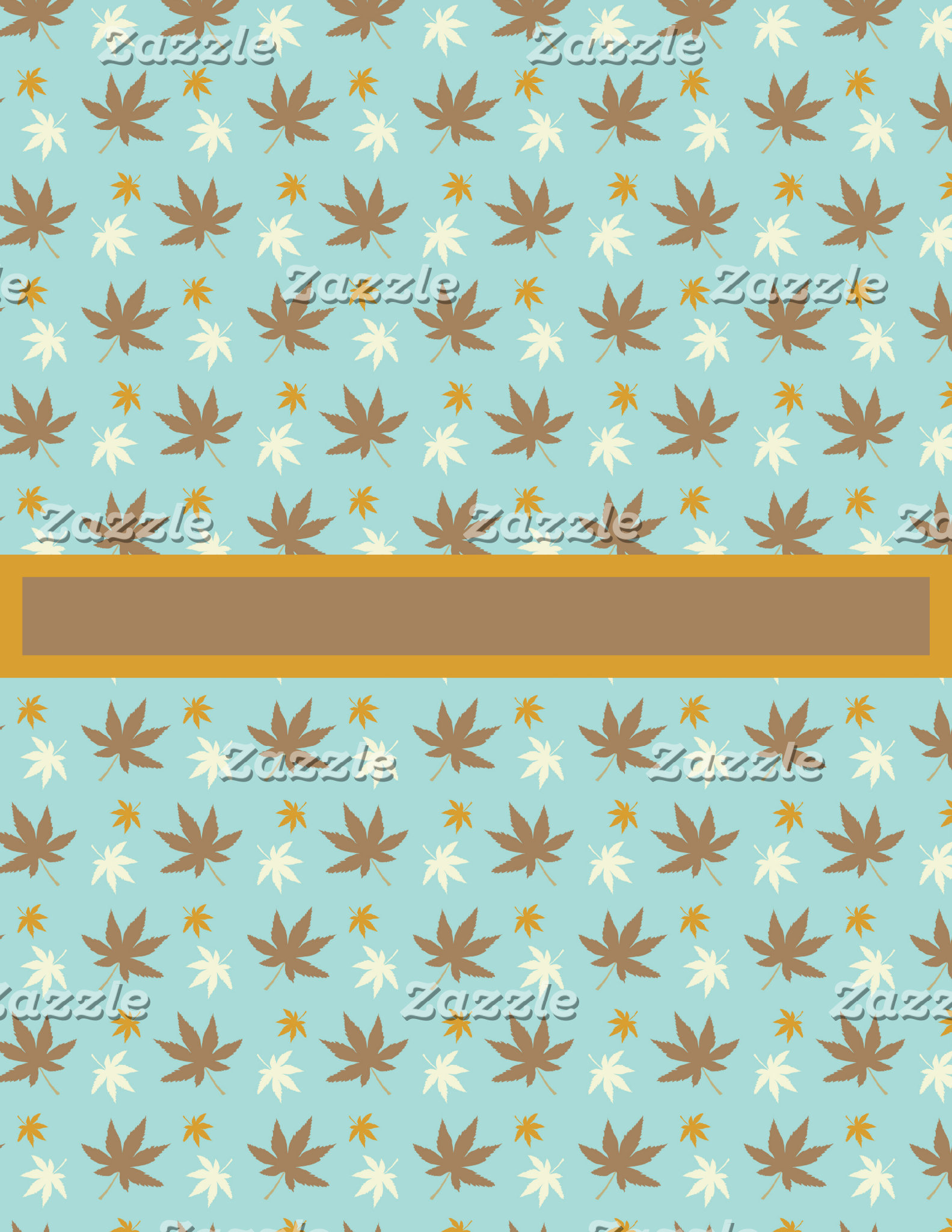 Blue and Brown Fall Pattern with Leaves