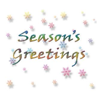 Season's Greetings with Pastel Snowflakes