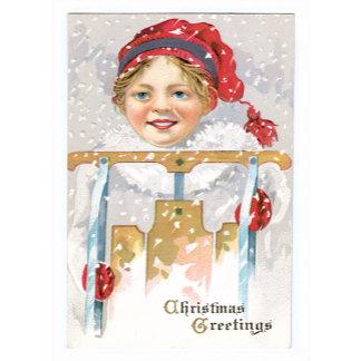 Christmas Greetings ~ Winter Snow Sled Girl
