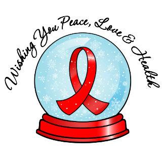 AIDS Ribbon Merry Christmas Snowglobe