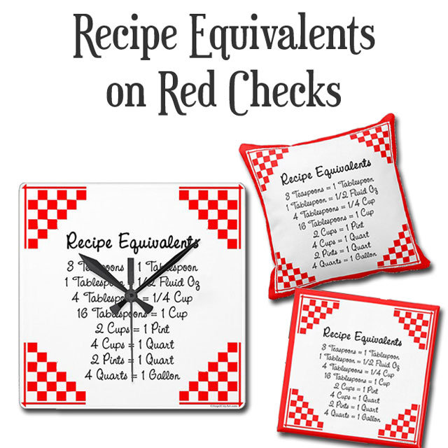 Recipe Equivalents Red Checked Baking Helper