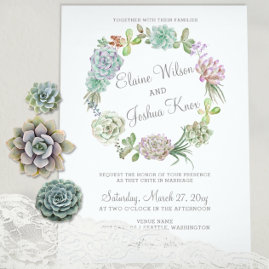 Cactus Succulent Wreath Wedding Invitations Suite