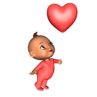 Toon Baby with Pink Heart Balloon