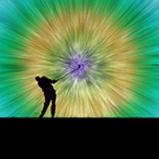 Green Tie Dye Golfer Silhouette