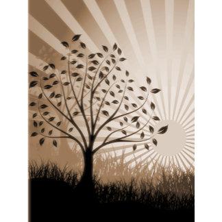 Trees, Leaves, Grass Silhouette & Sunburst Sepia