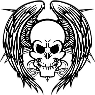 Grinning Tattoo Skull and Wings with Tribal